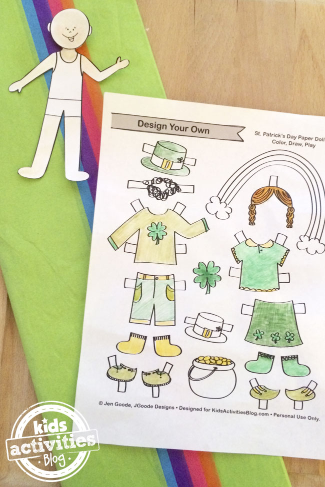 Printable St. Patrick's Day paper doll accessories