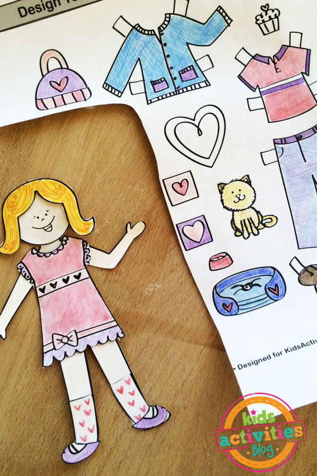 Color and cut out the Love paper doll accessories