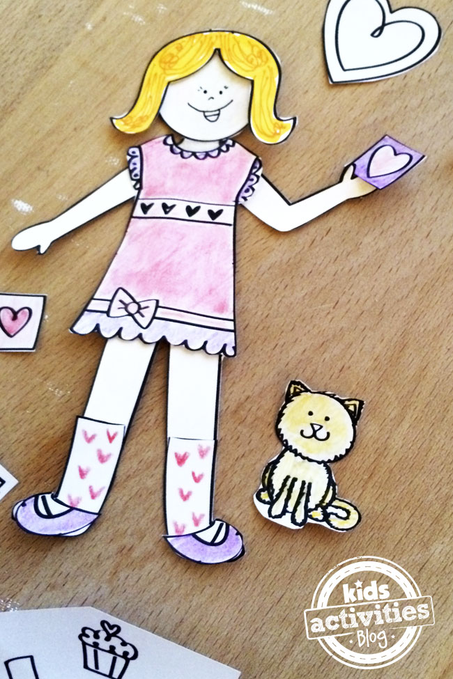 Cut kitty paper doll accessory designed by Jen Goode