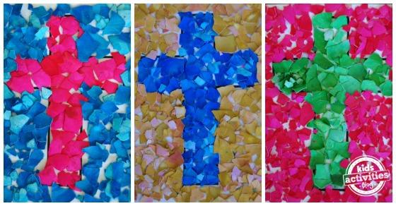 easter craft egg shell mosaic cross