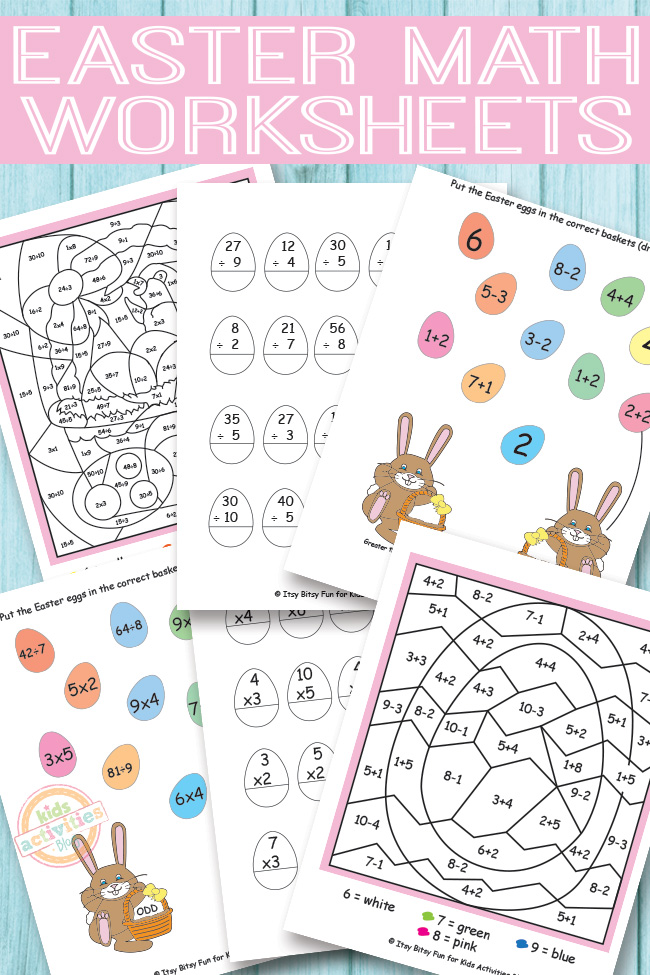 Easter Math Worksheets {Free Kids Printables}