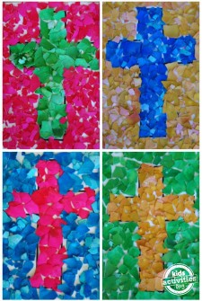 Egg Shell Easter Cross Mosaic Craft