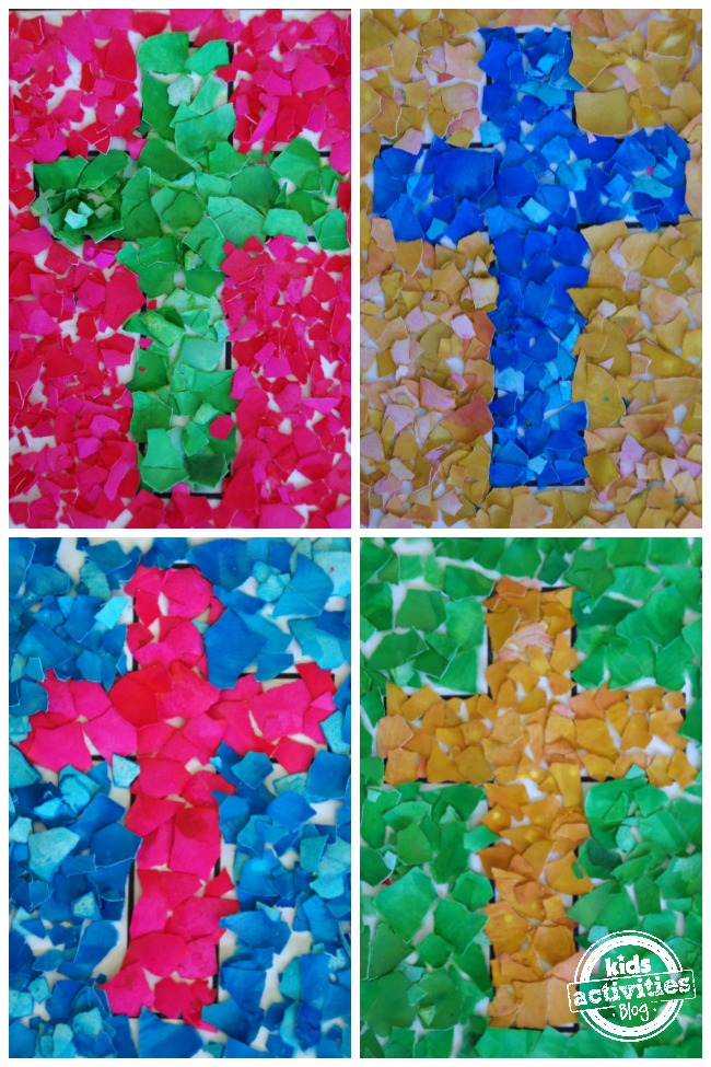 egg shell cross mosaic craft