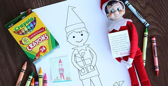 Elf On The Shelf Sized Coloring Sheets And Kid Sized
