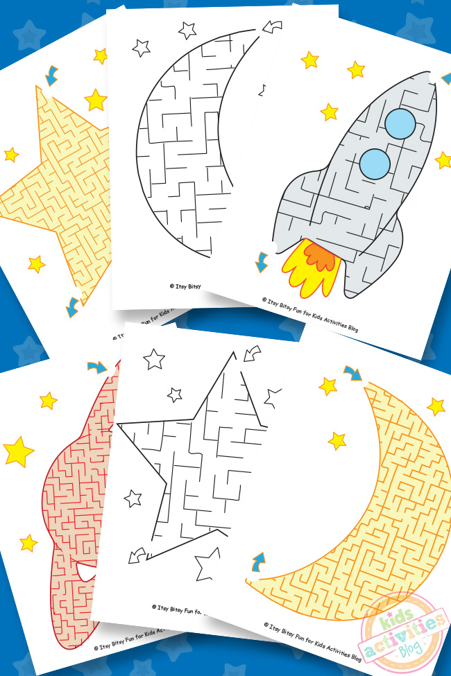 Space Mazes Free Kids Printable