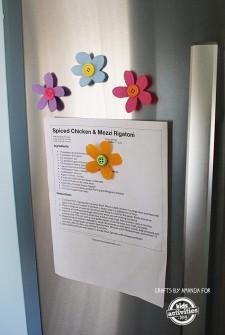 Preschool Craft: Felt Button Flower Magnets