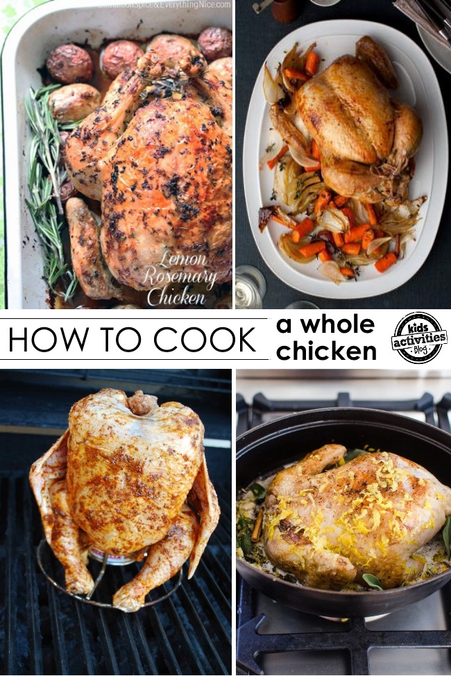 How to cook a whole chicken recipes. Beer butt chicken, chicken over potatoes, chicken over carrots, they're all delicious.