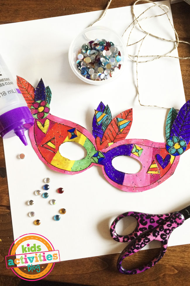 Printable Mardi Gras Mask craft designed by Jen Goode