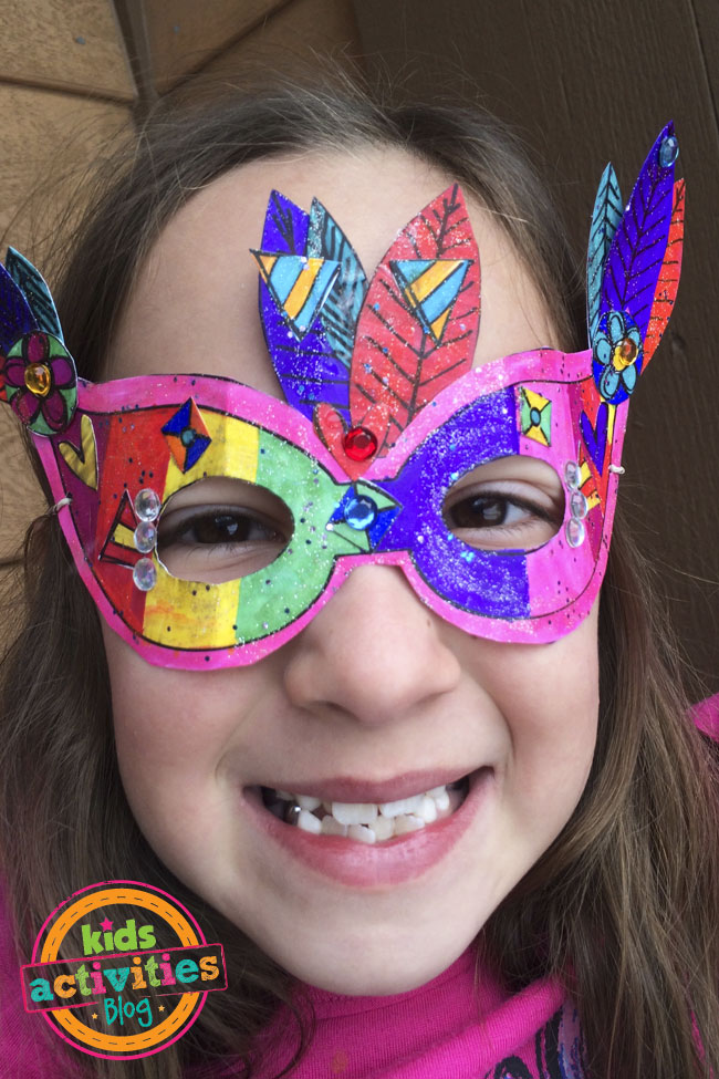 The kids will have fun making their own Mardi Gras mask