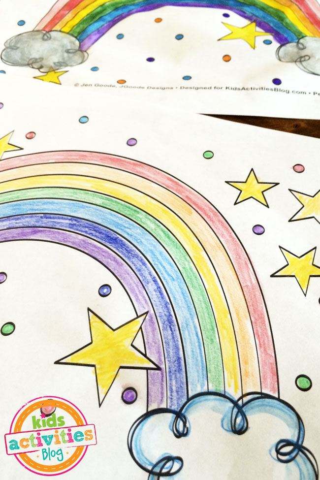 use colored pencils to color your rainbow