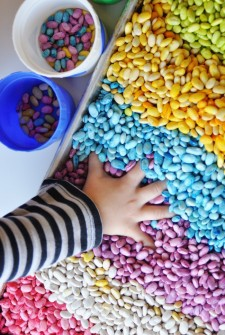 Scented Sensory Play with Rainbow Beans