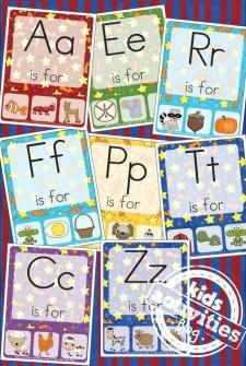 Free Kids Printable Alphabet Phonics Clip Cards