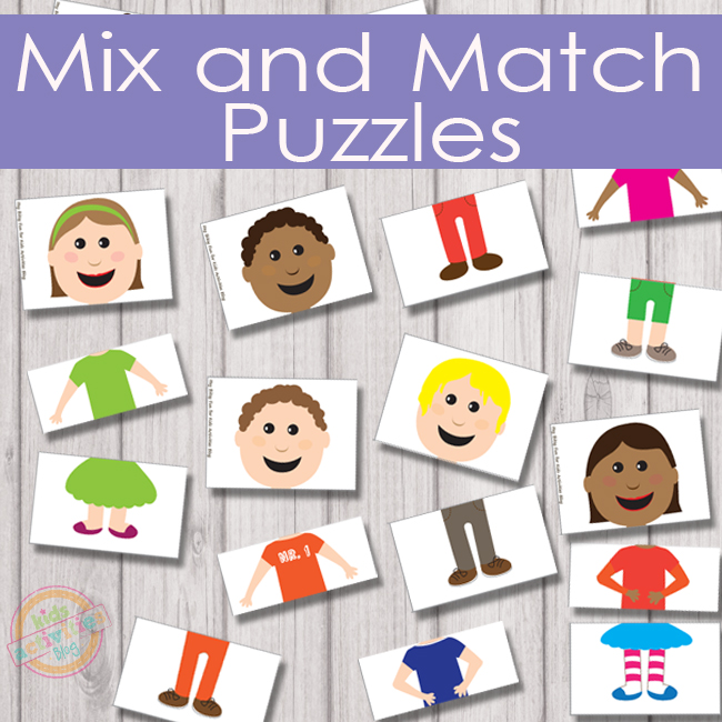 Mix and Match Puzzles Free Kids Printable