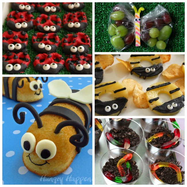 Bug themed foods that include lady bugs, grapes, bees, and mud and worms.