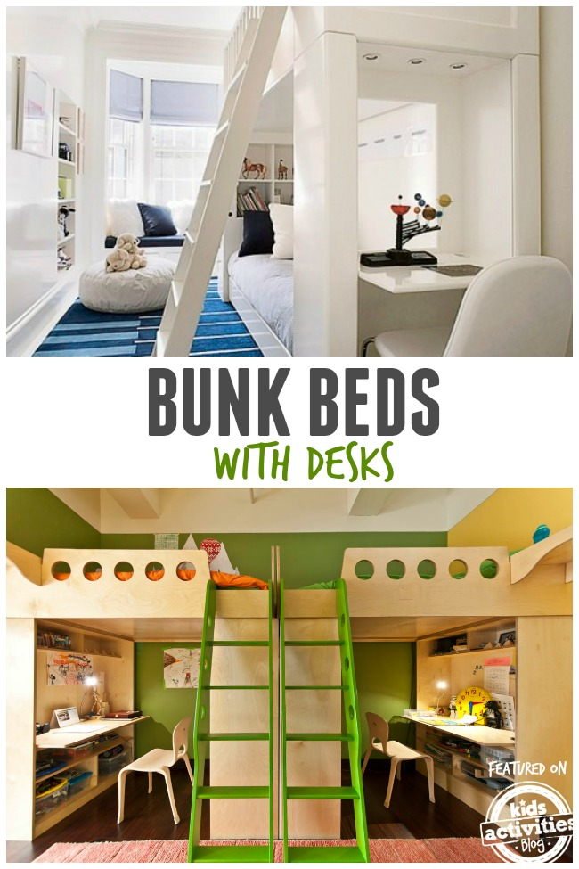 bunk beds with desks