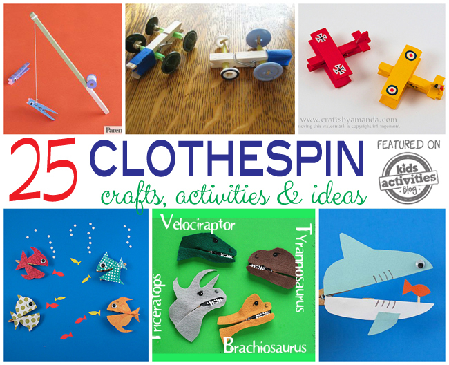25 Wooden Clothespin Crafts, Activities & Ideas