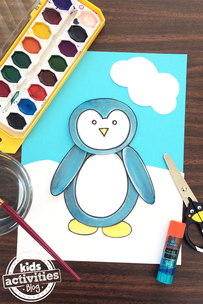 penguin coloring page and craft