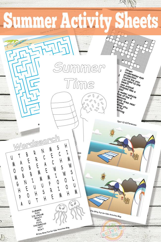 Summer Activity Sheets Free Printable