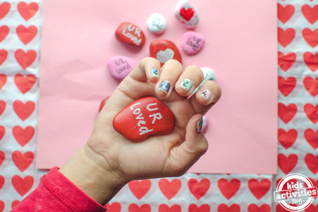 valentines heart stones craft