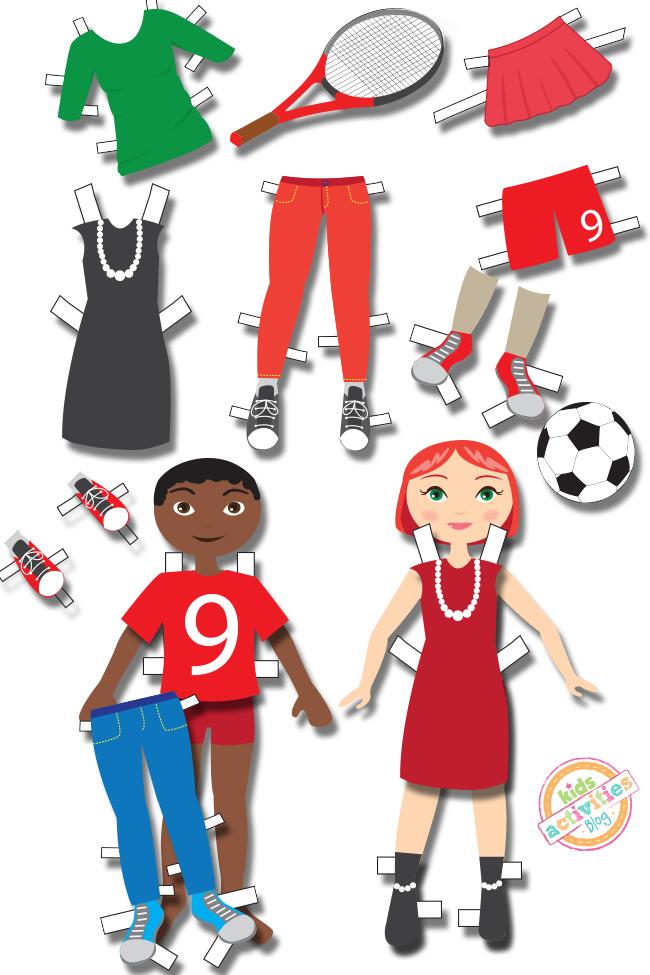 Pack de vêtements de poupée d'habillage comprenant un garçon et une fille, des déguisements, des jeans skinny, des chemises, des jupes, des chaussures et des vêtements de sport.