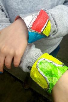 Aluminum Foil & Tissue Paper Bracelets