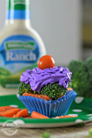 broccoli cupcake with ranch dressing frosting