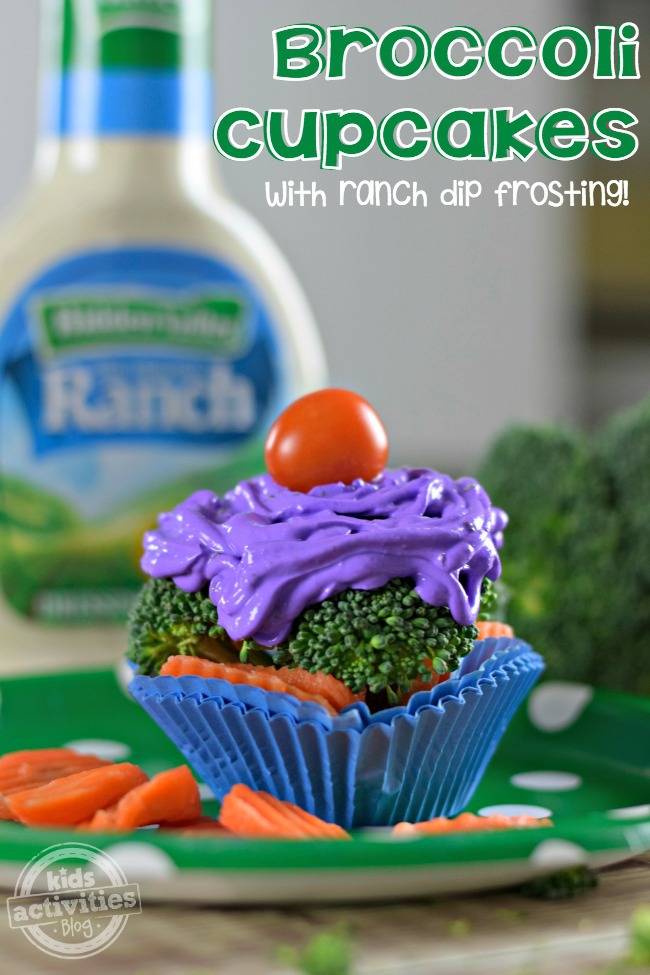 broccoli cupcakes with ranch dip frosting