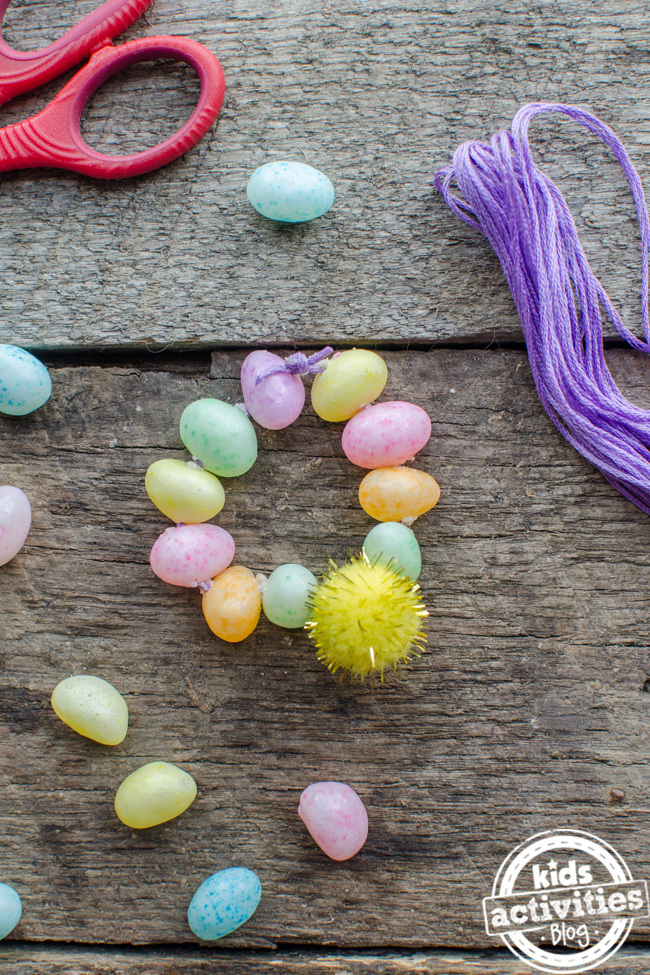 Easter bracelet made from green, pink, yellow, and orange jelly beans