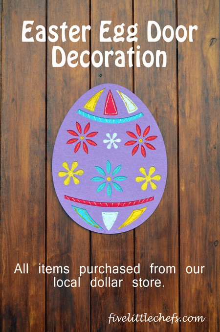 Easter Egg Door Decoration made from tissue paper and a giant stencil
