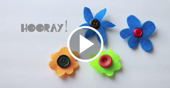 Preschool Craft Felt Button Flower