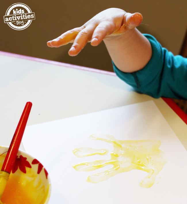 handprint craft with edible paint