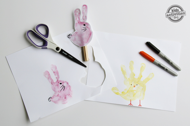 how to make handprint stick puppets