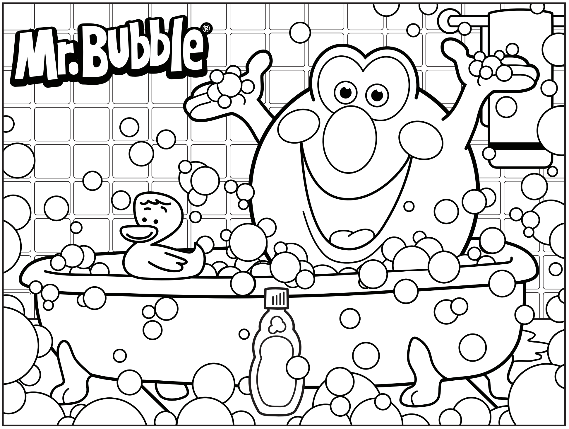 3d coloring pages - Mr Bubble Coloring Page Bath Time
