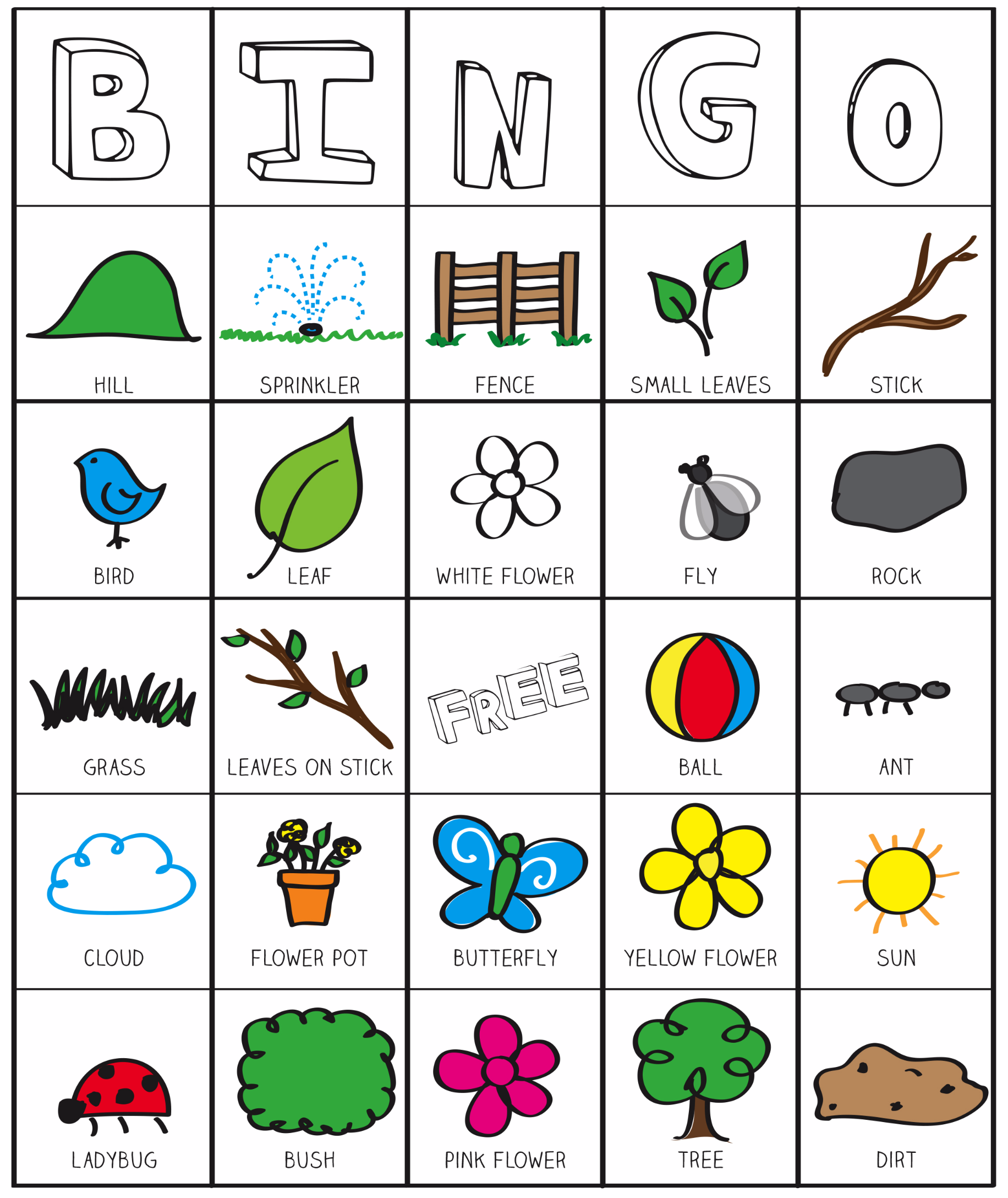 Fun Class Worksheets : Outside bingo printable inspired by the garden classroom