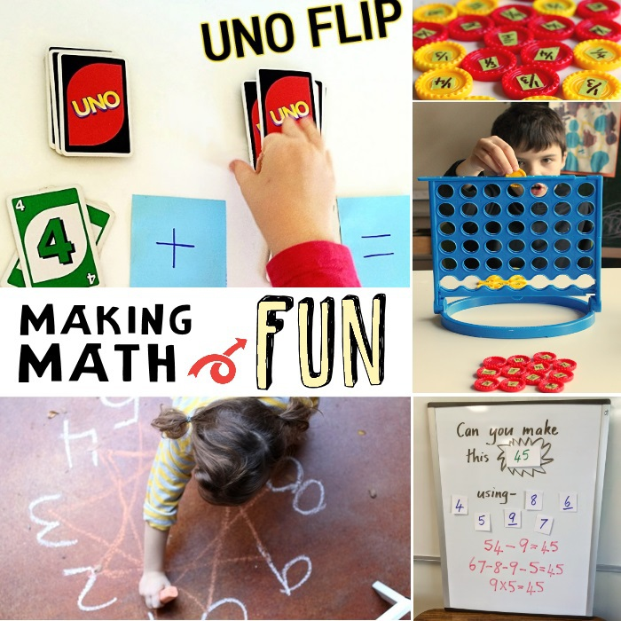 math ideas to help my kid - making math fun for kids with math games and interactive math activities - 5 different game based math activities for kids pictured