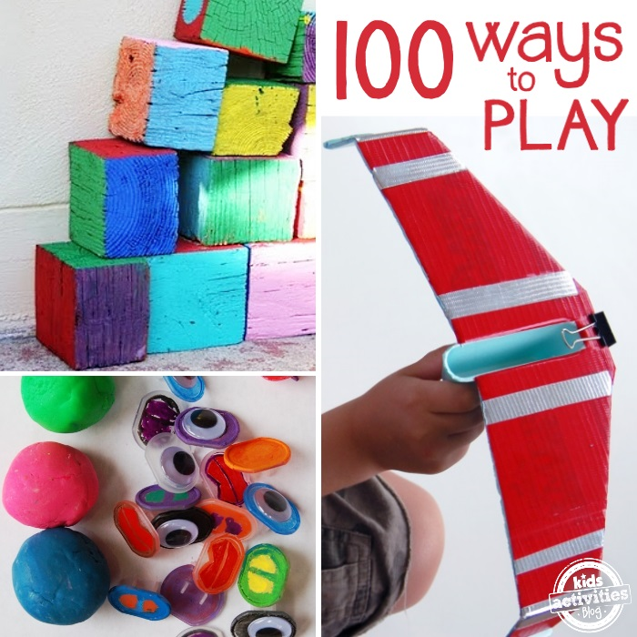 Examples of free play activities like blocks and an airplane