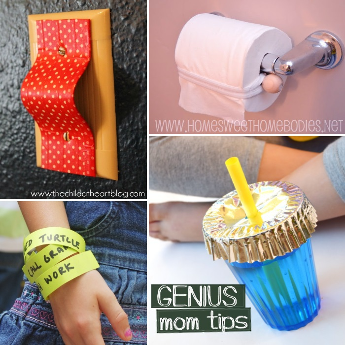 Genius hacks for moms like protecting the light switch, toilet paper, chore bracelets, and keeping bugs out of cups.