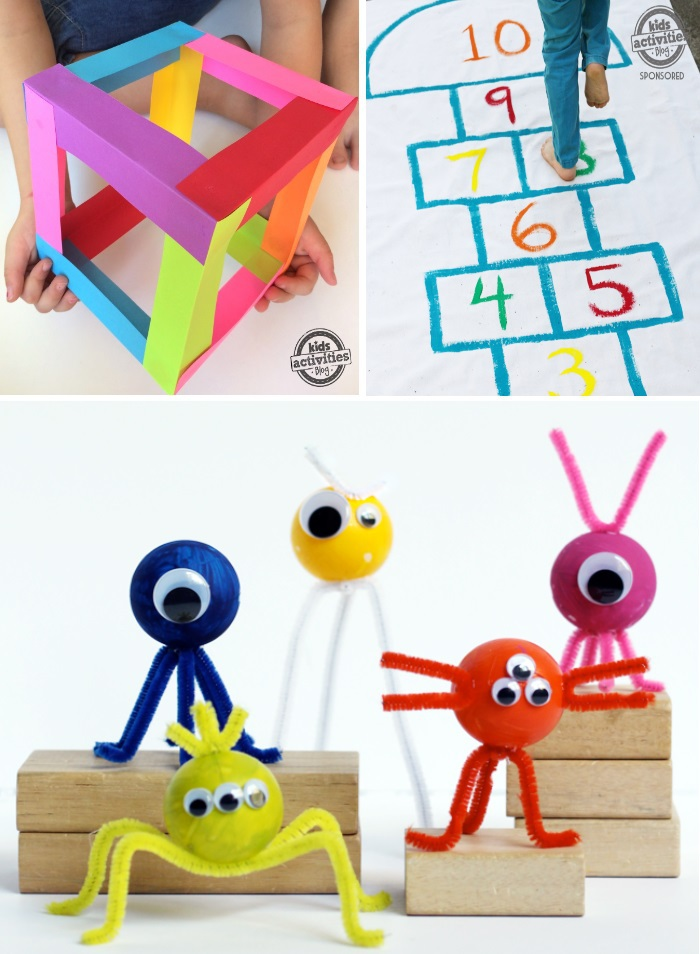 TV Free items for kids like all these fun crafts like the monster craft, hopscotch activity, and cube craft