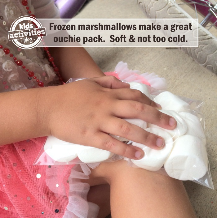 DIY quick ouchie pack made from marshmallows