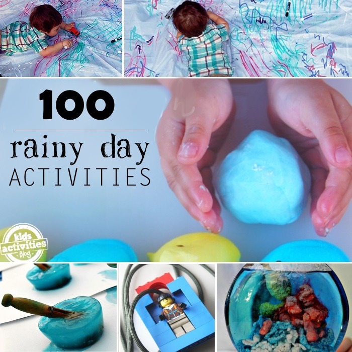 100 things to do on a rainy day like coloring, playdough, slime