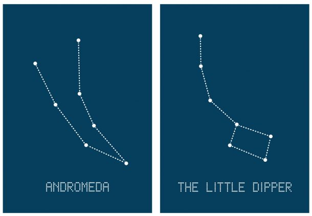 Constellation Sewing Cards - Set 1 - Andromeda and The Little Dipper