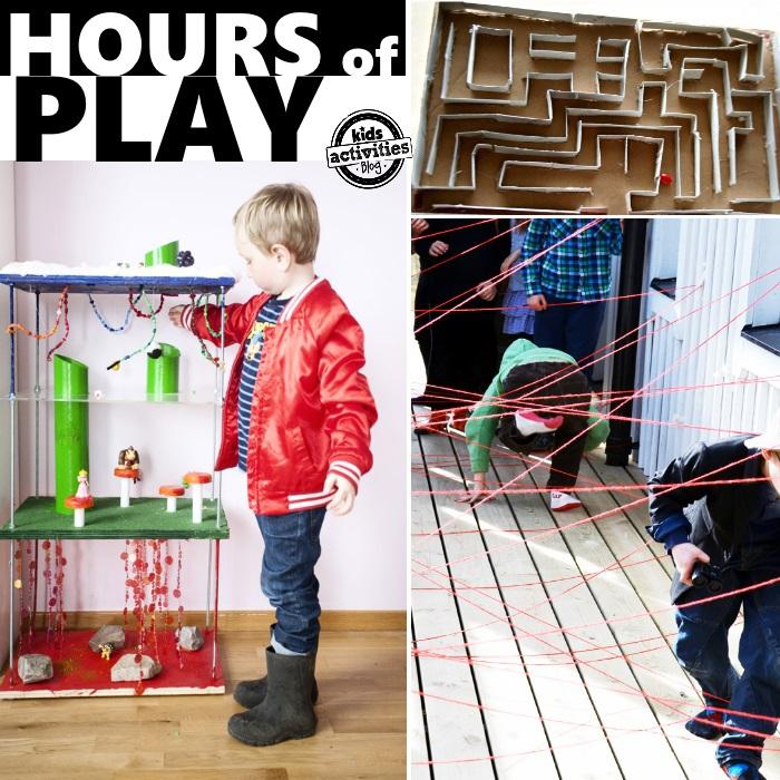 Idées de jeux STEM qui impliquent des constructions, des parcours d'obstacles et des labyrinthes.
