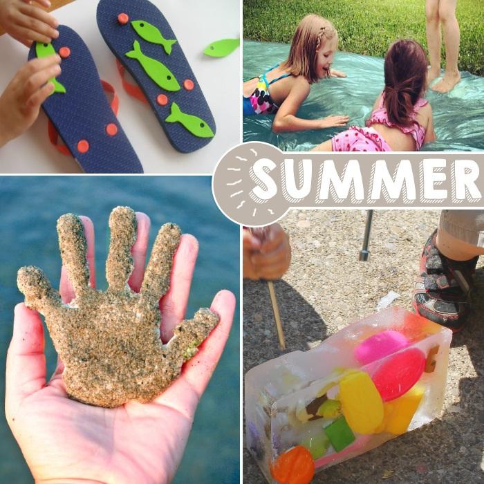 des idées amusantes pour l'été avec du sable, du poisson, des ballons d'eau et des gouttes d'eau.