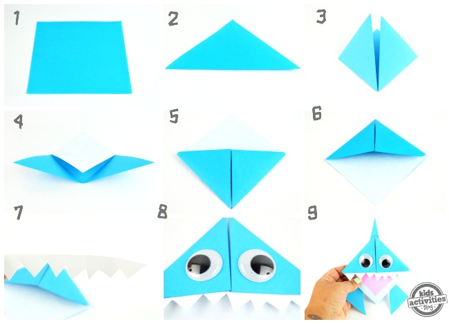 celebrate shark week with this origami shark bookmark. Black Bedroom Furniture Sets. Home Design Ideas