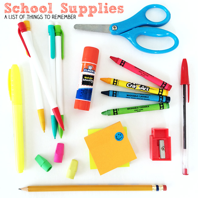 Don't forget these school supplies - a list of things to remember