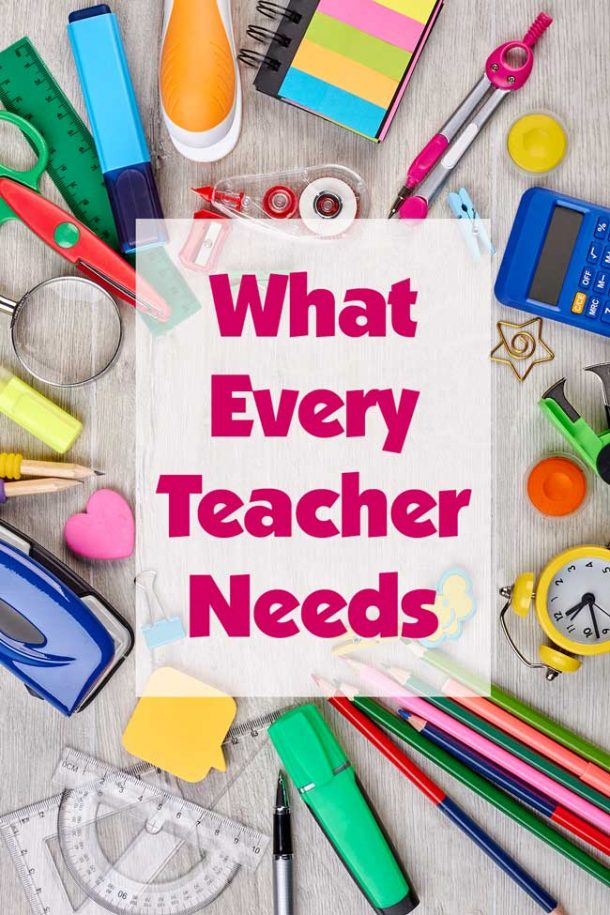 A plethora of school supplies -- everything from pencils to erasers to a calculator to a staple remover spread out on a gray background.