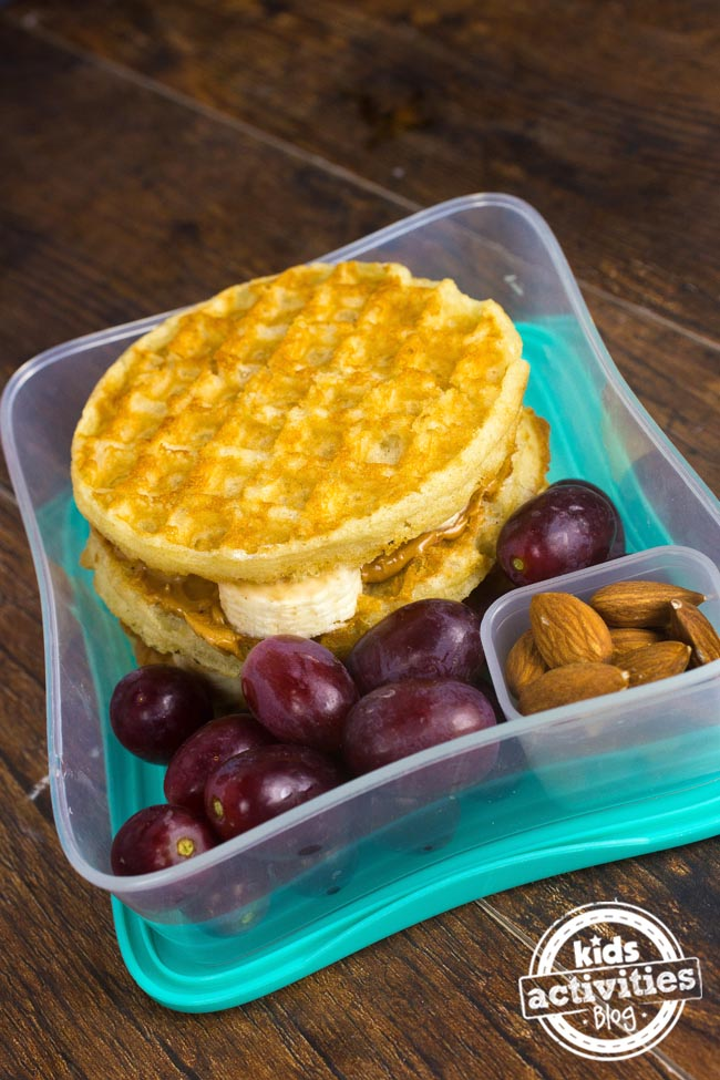 Peanut Butter Banana Waffle Sandwich Healthy Kids Lunchbox Ideas