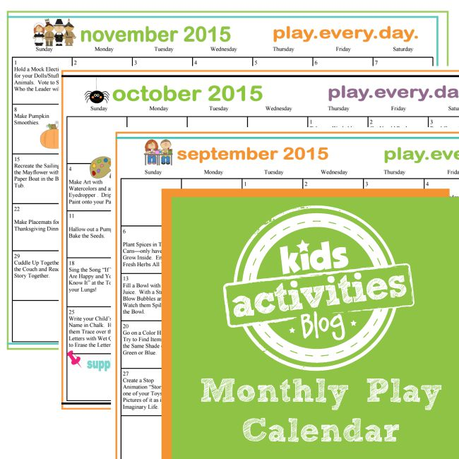 Monthly Play Calendar