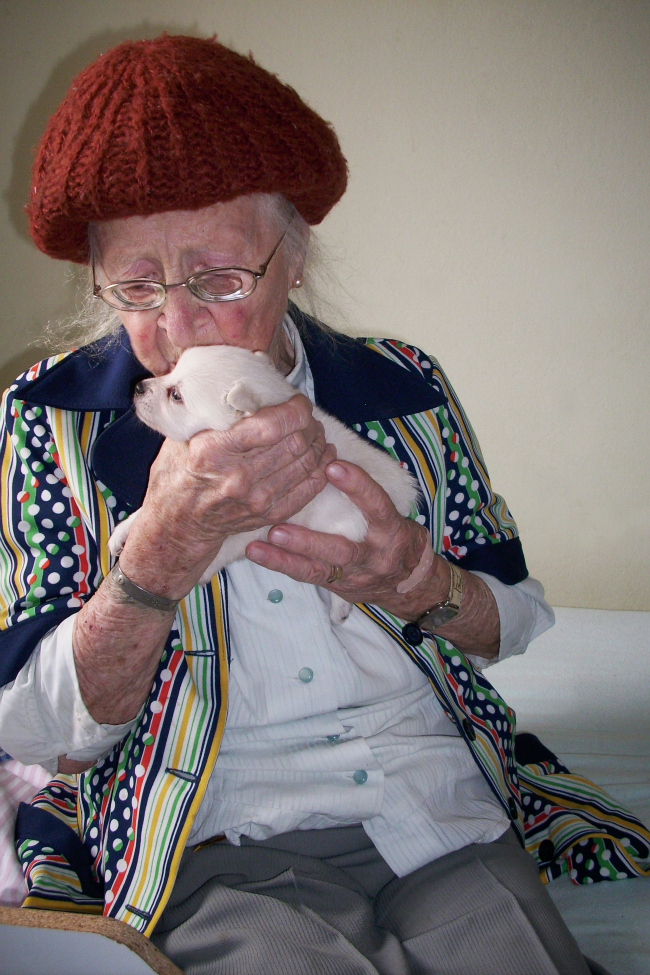elderly woman with puppy