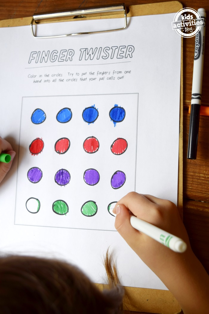 finger twister game for kids